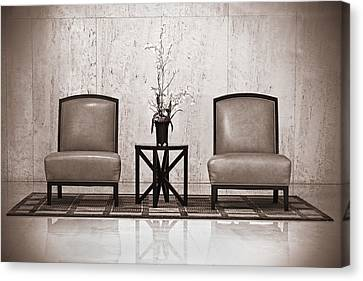 Empty Chairs Canvas Print - Two Chairs And A Table With A Plant  by Rudy Umans