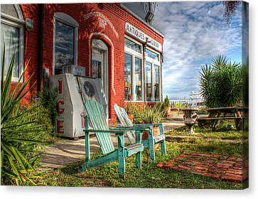 Two Chairs Around The Corner From The Old Stuff Shop Canvas Print by Lynn Jordan