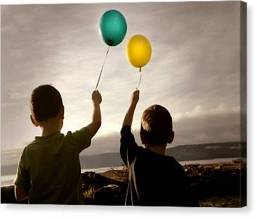 Two Children With Balloons Canvas Print by Con Tanasiuk