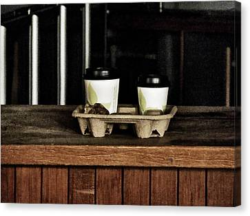 Two Coffees And A Muffin To Takeaway Canvas Print