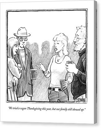 Annoying Canvas Print - Two Couples Converse At A Party by Matthew Diffee