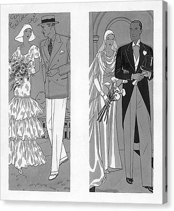 Black Tie Canvas Print - Two Couples Getting Married by Pierre Mourgue