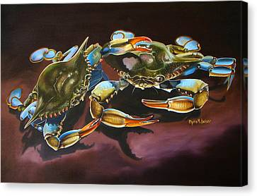 Canvas Print featuring the painting Two Crabs by Phyllis Beiser
