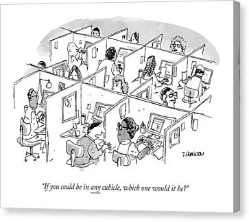 Cubicle Canvas Print - Two Cubicle Employees Talk by Tim Hamilton