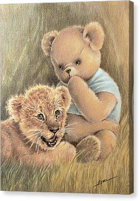 Canvas Print featuring the drawing Two Cubs by Ethel Quelland