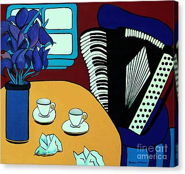 Two Cups One Accordian Canvas Print by Barbara McMahon