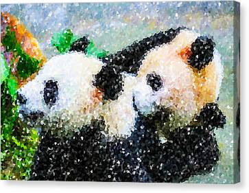 Two Cute Panda Canvas Print by Lanjee Chee