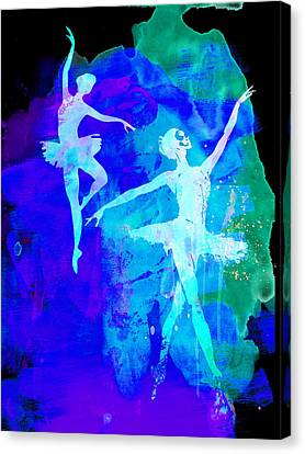 Dancer Canvas Print - Two Dancing Ballerinas  by Naxart Studio