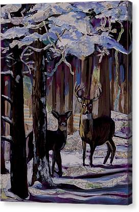 Two Deer In Snow In Woods Canvas Print
