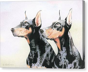 Two Doberman Canvas Print by Wilfrid Barbier