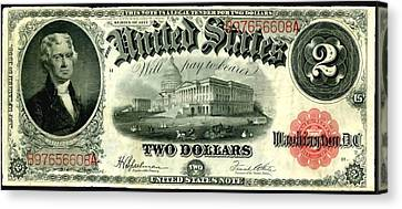 Two Dollar 1917 United States Note Fr60 Canvas Print by Lanjee Chee
