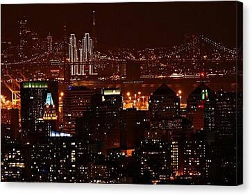 Two Downtowns Canvas Print by Michael Courtney