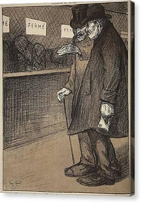 Two Elderly Gentlemen Walking Canvas Print by Eugene Cadel