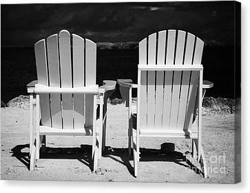 Two Empty Sun Loungers On Private Beach Islamorada Florida Keys Usa Canvas Print by Joe Fox