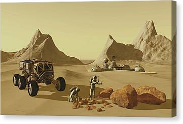 Two Explorers Collect Rock Samples Canvas Print by Corey Ford
