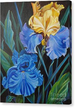 Canvas Print featuring the painting Two Fancy Iris by Jenny Lee