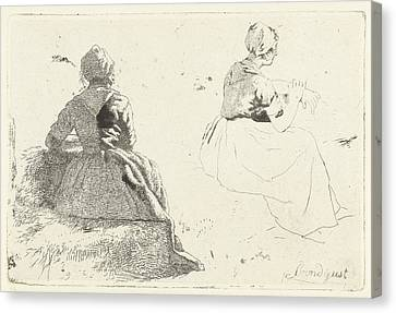 Two Figure Studies Of Peasant Woman Sitting On Hay Bale Canvas Print by Artokoloro