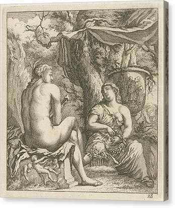 Two Figures In A Classical Landscape, Arnold Houbraken Canvas Print
