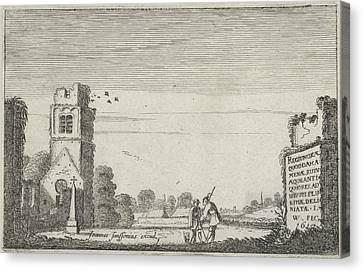 Two Figures In A Ruined Church, Jan Van De Velde II Canvas Print by Jan Van De Velde Ii And Johannes Janssonius