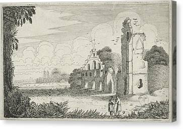 Two Figures In A Ruined House, Jan Van De Velde II Canvas Print by Jan Van De Velde (ii)