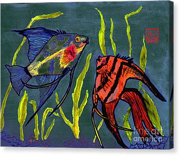 Two Fish  Chinese Watercolor Painting Canvas Print by Merton Allen