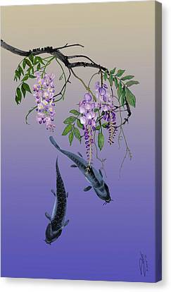 Two Fish Under A Wisteria Tree Canvas Print by IM Spadecaller