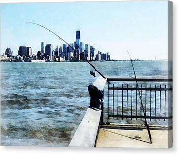 New York New York Canvas Print - Two Fishing Poles by Susan Savad
