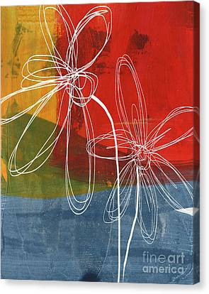 Health Canvas Print - Two Flowers by Linda Woods