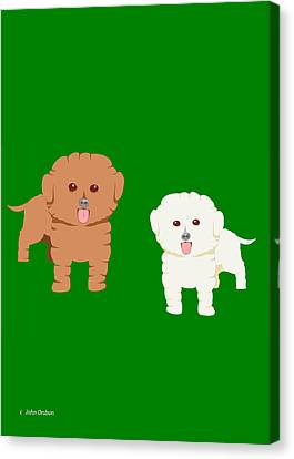 Two Fluffy Dogs Canvas Print