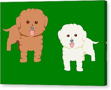 Two Fluffy Pet Dogs Canvas Print