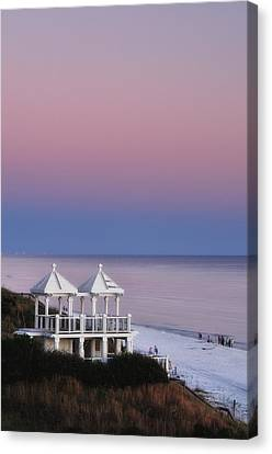 Two For Joy - Twin Gazebos At Twilight Canvas Print