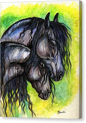Two Fresian Horses Canvas Print by Angel  Tarantella