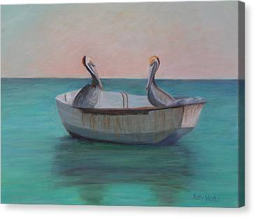 Two Friends In A Dinghy Canvas Print