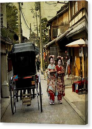 Two Geishas And A Buggy Canvas Print by Juli Scalzi