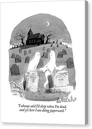 Two Ghosts Talk In A Graveyard.  One Is Holding Canvas Print