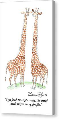 Two Giraffes Talking Canvas Print