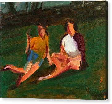 Two Girls, 2004 Oil On Linen Canvas Print by Daniel Clarke