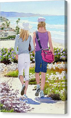 Two Girls At Dog Beach Del Mar Canvas Print by Mary Helmreich