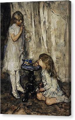 Two Girls Blowing Bubbles Canvas Print by Jacob Maris