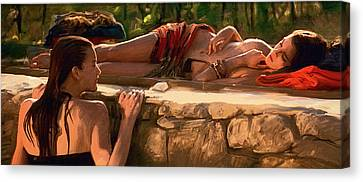 Two Girls By The Pool Canvas Print by Dominique Amendola