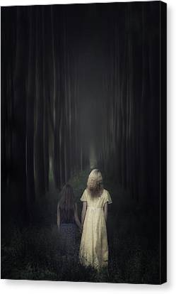 Two Girls In A Forest Canvas Print
