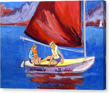 Two Girls Set To Sail With Red Sail Canvas Print by Betty Pieper