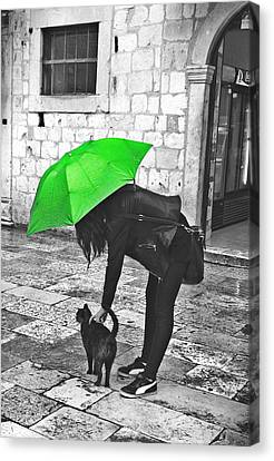 Two Girls Under Umbrella Canvas Print