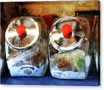 Two Glass Cookie Jars Canvas Print by Susan Savad