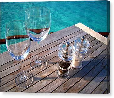 Two Glasses At The Blue Lagoon Canvas Print