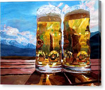 Two Glasses Of Beer With Mountains Canvas Print by M Bleichner
