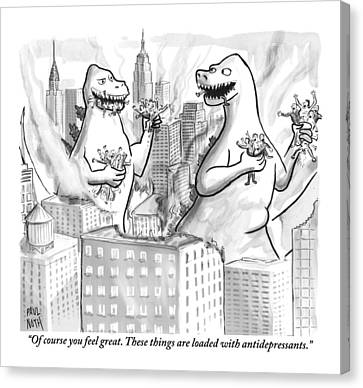 Two Godzillas Talk To Each Other Canvas Print by Paul Noth