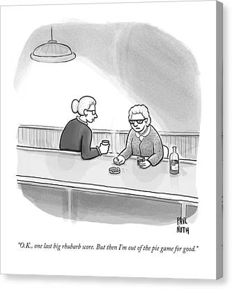 Old Canvas Print - Two Grannies Smoke And Drink At A Bar by Paul Noth