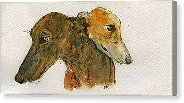 Two Greyhounds Canvas Print by Juan  Bosco