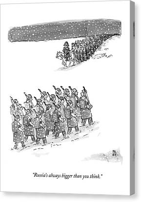 Two Groups Of Army Troops Walk In Opposite Canvas Print